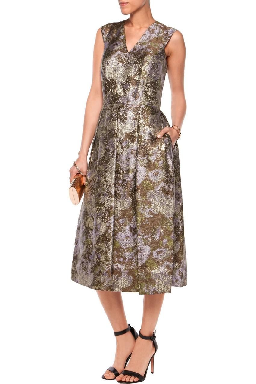 Raoul Metallic Jacquard Midi Dress