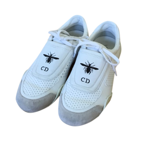 Dior Bee logo white punched leather trainers