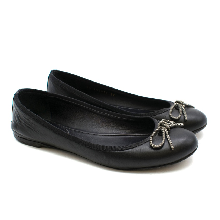Saint Laurent Black Leather Ballerina Flats with Bow