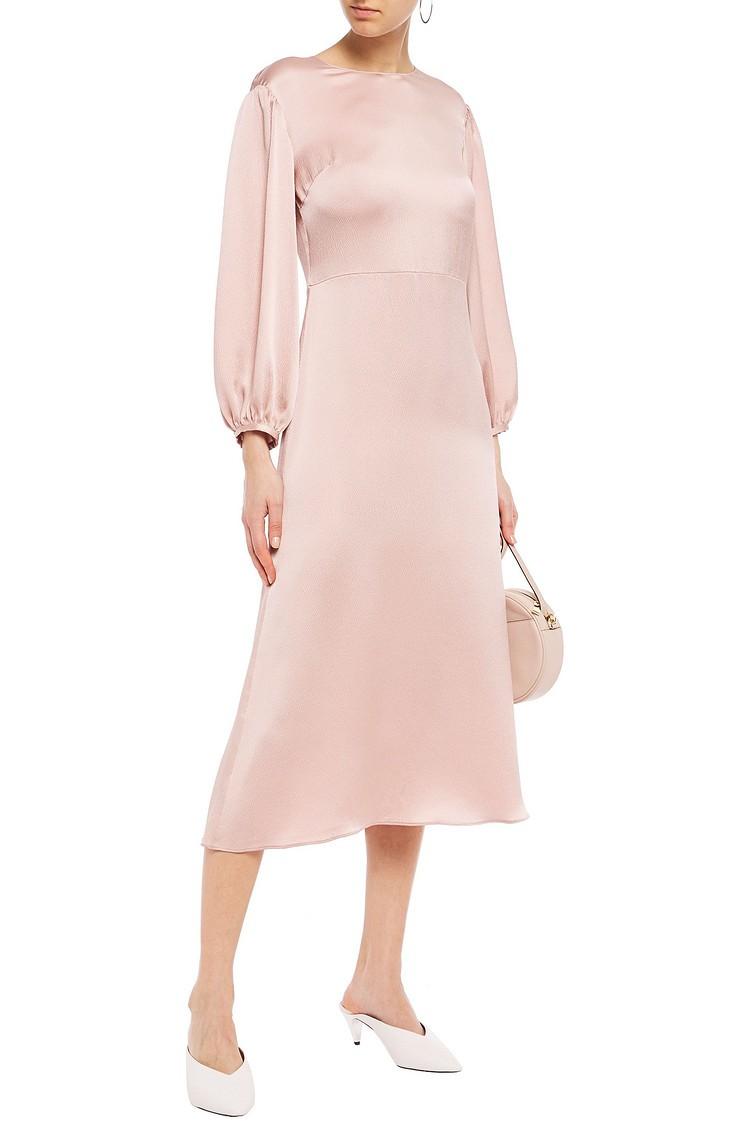 Mansur Gavriel blush hammered-silk midi dress