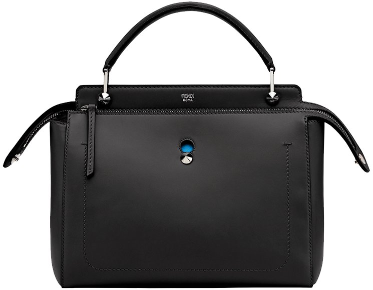 Fendi Black & Blue Leather Dotcom Bag