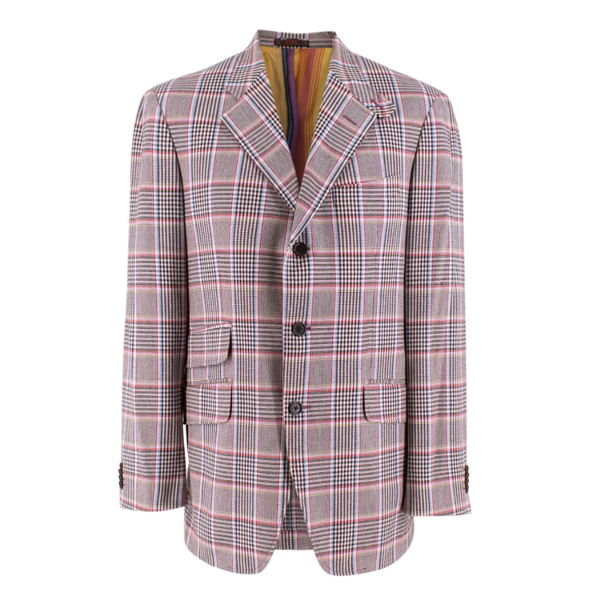 Etro Pink Checked Single Breasted Jacket