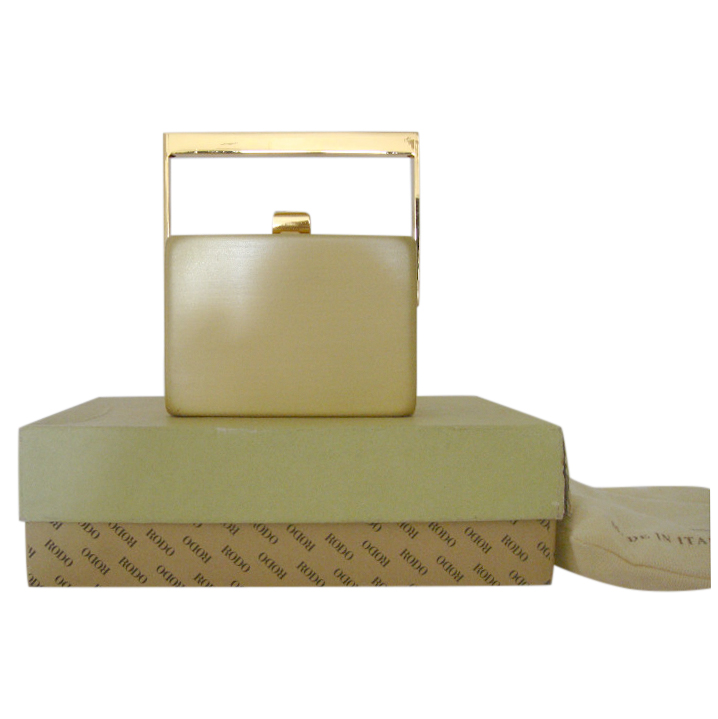 Rodo Gold Mini Box Bag with Crystal Clasp