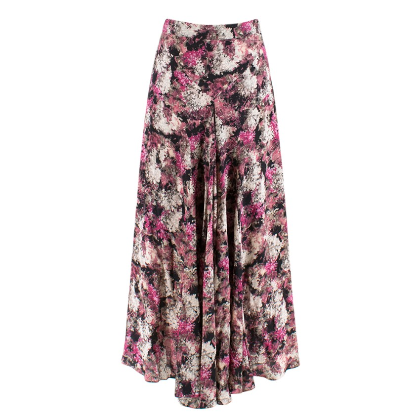 Raey Pink Floral Silk Draped Midi Skirt
