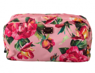 Dolce & Gabbana Pink Floral Print Toiletry Bag