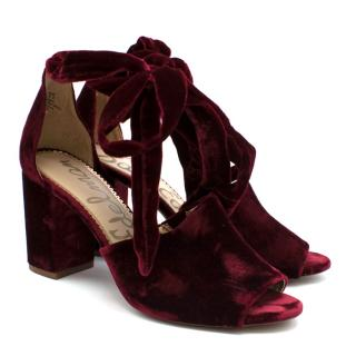 Sam Edelman Burgundy Velvet Odele Heeled Sandals