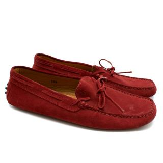 Tod's Red Suede Gommino Driving Shoes