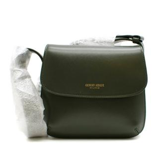 Giorgio Armani Dark Green Logo-Stamp Shoulder Bag