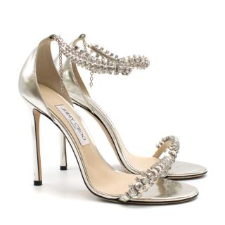 Jimmy Choo Silver Metalic Embelshed Heeled Sandals