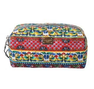 Dolce & Gabbana Majolica Print Toiletry Bag
