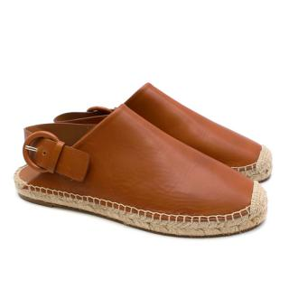 Celine Tan Leather Slip On Espadrilles