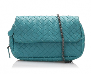 Bottega Veneta Turquoise Intrecciato Leather Chain Crossbody Bag