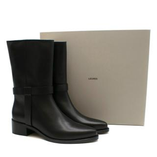 Legres Black Nappa Leather Biker Boots