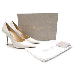 Jimmy Choo Latte Croc Embossed Leather Point-Toe Pumps