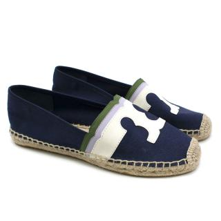 Tory Burch Navy Cavas Leather Trim Espadrilles