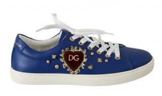 Dolce & Gabbana Blue Leather Heart Applique Trainers