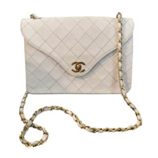 Chanel White Vintage Leather Diana Flap Bag