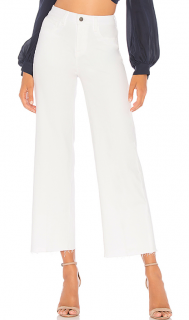 L'Agence Danica White High Rise Cropped Jeans