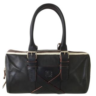 Loewe Black Leather Black & Cream Top Handle Bag