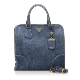 Prada Denim Top Handle Satchel