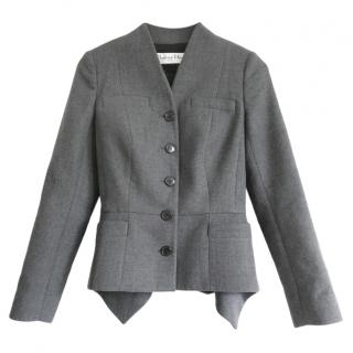 Christian Dior by John Galliano Grey Wool Peplum Tailored Jacket