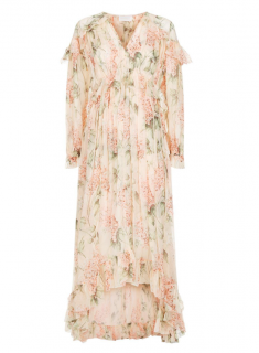 Zimmermann Corsair Iris Silk Ruffle Midi Dress