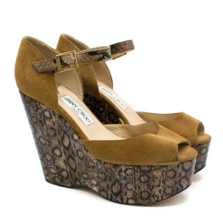 Jimmy Choo animal print suede & leather wedges
