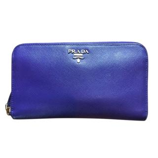 Prada Blue Grained Leather Zip Around Wallet