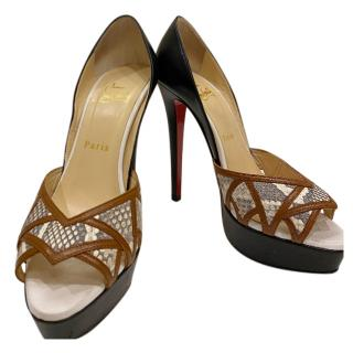 Christian Louboutin Python & Leather Platform Pumps