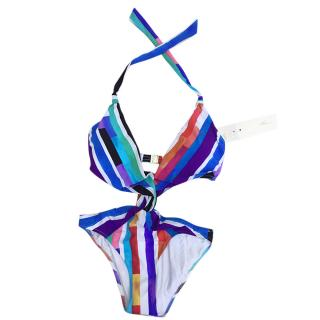 Gottex Stripe Mutli-Coloured Halterneck Cut-Out Swimsuit