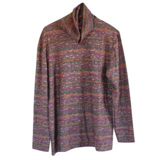 Missoni Striped Roll Neck Wool Blend Sweater