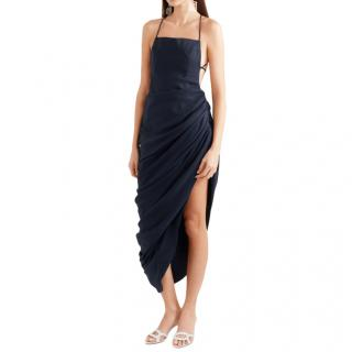 Jacquemus Saudade Ruched Asymmetric Wool-Twill Midi Dress
