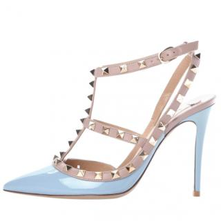 Valentino Patent Powder Blue Slingback Sandals