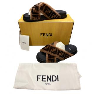 Fendi FF logo shearling slides