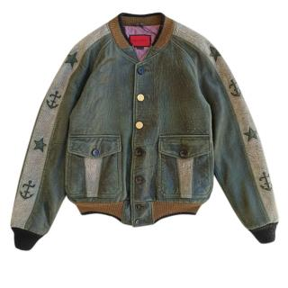 Gucci x DSM Men's Grainy Treated Leather Bomber (Green)