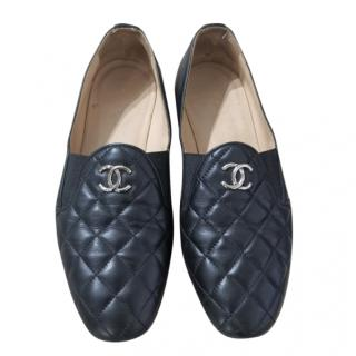 Chanel Black Quilted Leather Loafers