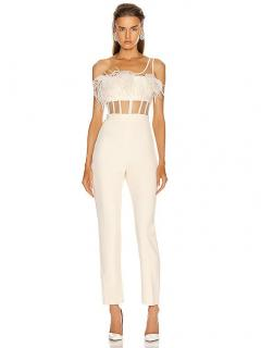 David Koma Feather Trimmed Corset Jumpsuit