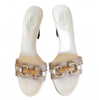 Gucci White Monogram Bamboo Horsebit Sandals