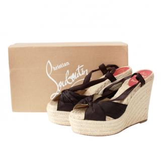 Christian Louboutin Ribbon Tie Espadrille Wedges