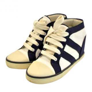 Isabel Marant navy and white canvas hightop trainers