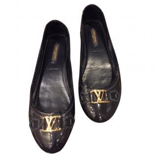 Louis Vuitton black patent ballet flats