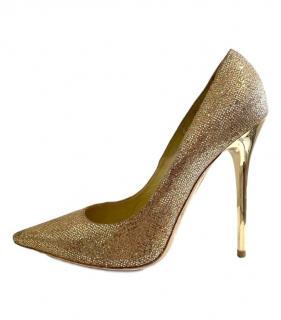 Jimmy Choo gold glitter heeled pumps
