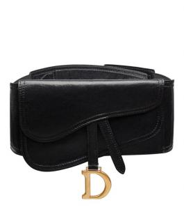 Dior Black Lambskin Saddle Belt