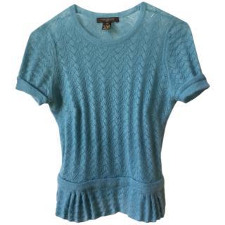 Louis Vuitton blue soft cashmere top