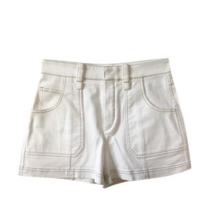 Chloe cream cotton shorts with tan stitch detail