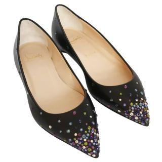 Christian Louboutin embellished black flat pumps