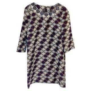 Tory Burch beaded harlequin print silk dress