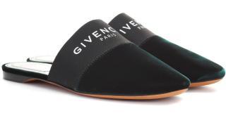 Givenchy Dark Green Velvet Bedford Flat Mules
