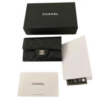 Chanel black caviar  classic card holder with Monalisa back pocket