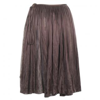 Hermes brown silk wrap around skirt